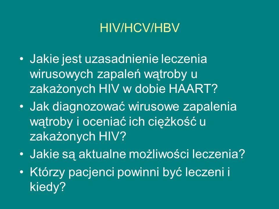 Postępowanie w zakażeniu HBV/HIV Bez wskazań do leczenia HIV HBV-DNA, AlAT HBeAg Łagodny i nie postępujący przebieg monitorowanie Aktywna choroba Wysoki poziom HBV-DNA Ocena stanu wątroby (biopsja) Bez cech aktywnej i zaawansowanej choroby monitorowanie Cechy aktywnej i zaawansowanej choroby CD4>500 INF/PEG-INF/adefovir CD4<500 HAART Teno+lam lub emtri