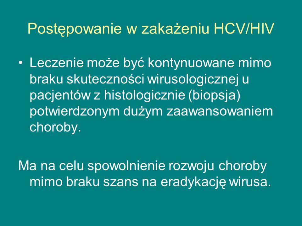 Postępowanie w zakażeniu HCV/HIV Leczenie może być kontynuowane mimo braku skuteczności wirusologicznej u pacjentów z histologicznie (biopsja) potwier