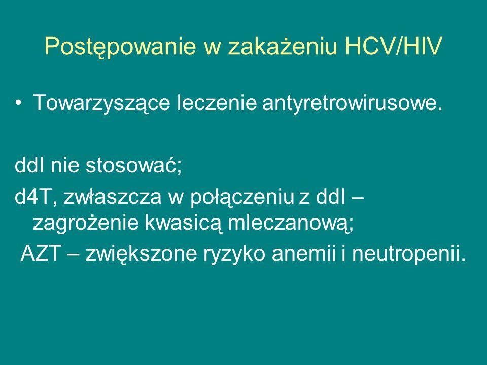 Postępowanie w zakażeniu HCV/HIV Towarzyszące leczenie antyretrowirusowe. ddI nie stosować; d4T, zwłaszcza w połączeniu z ddI – zagrożenie kwasicą mle