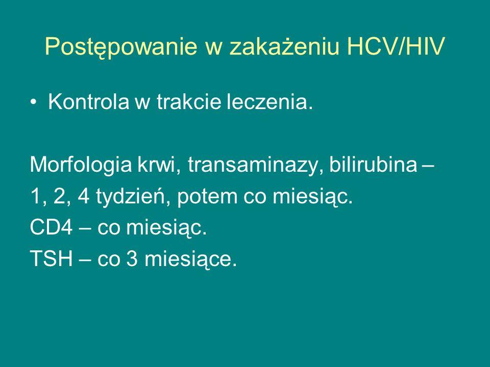 Postępowanie w zakażeniu HCV/HIV Kontrola w trakcie leczenia. Morfologia krwi, transaminazy, bilirubina – 1, 2, 4 tydzień, potem co miesiąc. CD4 – co