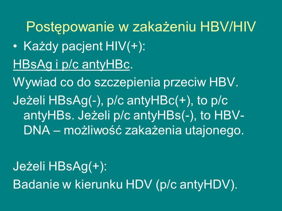 Postępowanie w zakażeniu HBV/HIV Każdy pacjent HIV(+): HBsAg i p/c antyHBc. Wywiad co do szczepienia przeciw HBV. Jeżeli HBsAg(-), p/c antyHBc(+), to