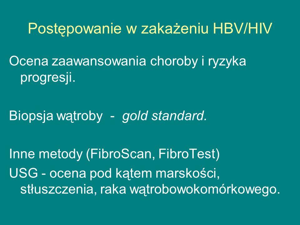 Postępowanie w zakażeniu HBV/HIV Ocena zaawansowania choroby i ryzyka progresji. Biopsja wątroby - gold standard. Inne metody (FibroScan, FibroTest) U