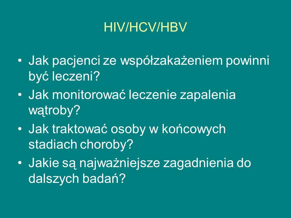 Postępowanie w zakażeniu HBV/HIV Leczenie INF: HBeAg(+): 5-6 MU/dz lub 16MU 3x w tyg.