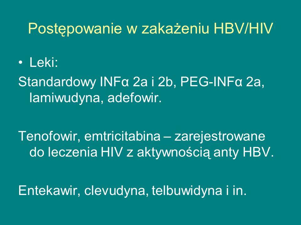 Postępowanie w zakażeniu HBV/HIV Leki: Standardowy INFα 2a i 2b, PEG-INFα 2a, lamiwudyna, adefowir. Tenofowir, emtricitabina – zarejestrowane do lecze