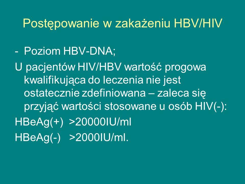 Postępowanie w zakażeniu HBV/HIV -Poziom HBV-DNA; U pacjentów HIV/HBV wartość progowa kwalifikująca do leczenia nie jest ostatecznie zdefiniowana – za