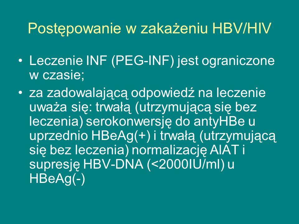 Postępowanie w zakażeniu HBV/HIV Leczenie INF (PEG-INF) jest ograniczone w czasie; za zadowalającą odpowiedź na leczenie uważa się: trwałą (utrzymując