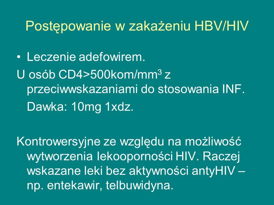 Postępowanie w zakażeniu HBV/HIV Leczenie adefowirem. U osób CD4>500kom/mm 3 z przeciwwskazaniami do stosowania INF. Dawka: 10mg 1xdz. Kontrowersyjne