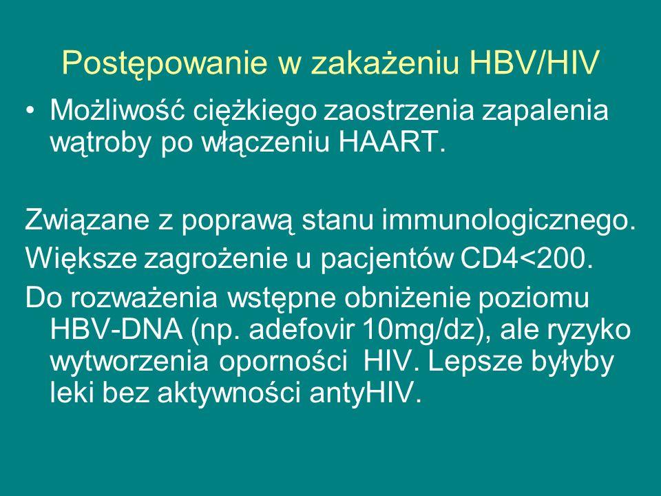 Postępowanie w zakażeniu HBV/HIV Możliwość ciężkiego zaostrzenia zapalenia wątroby po włączeniu HAART. Związane z poprawą stanu immunologicznego. Więk