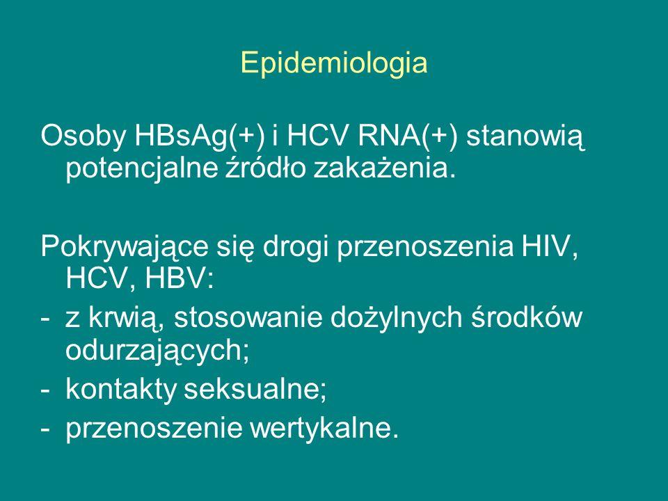Epidemiologia Osoby HBsAg(+) i HCV RNA(+) stanowią potencjalne źródło zakażenia. Pokrywające się drogi przenoszenia HIV, HCV, HBV: -z krwią, stosowani