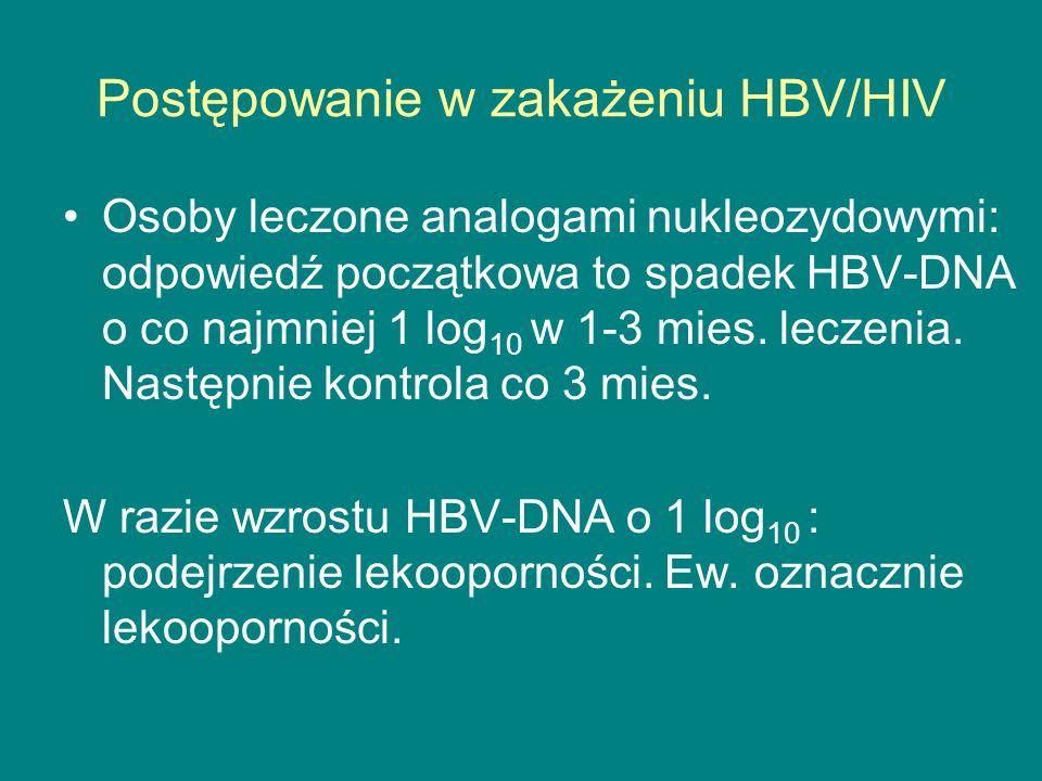 Postępowanie w zakażeniu HBV/HIV Osoby leczone analogami nukleozydowymi: odpowiedź początkowa to spadek HBV-DNA o co najmniej 1 log 10 w 1-3 mies. lec