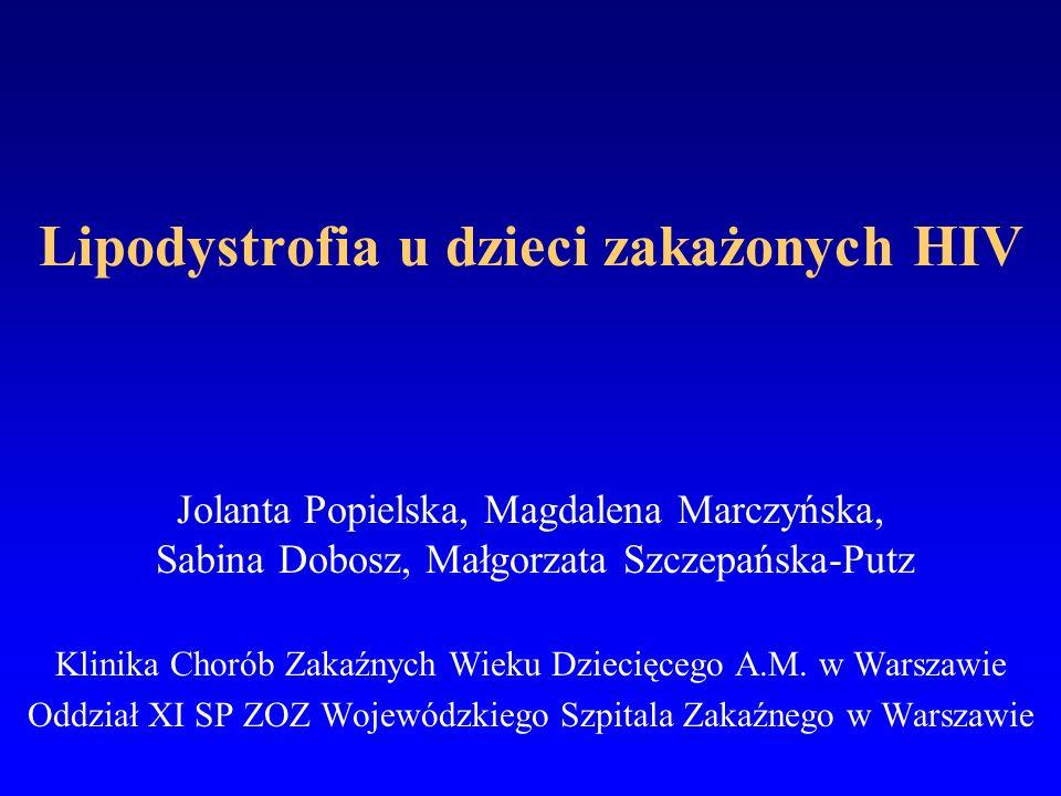 Lipodystrofia u dzieci zakażonych HIV Jolanta Popielska, Magdalena Marczyńska, Sabina Dobosz, Małgorzata Szczepańska-Putz Klinika Chorób Zakaźnych Wie
