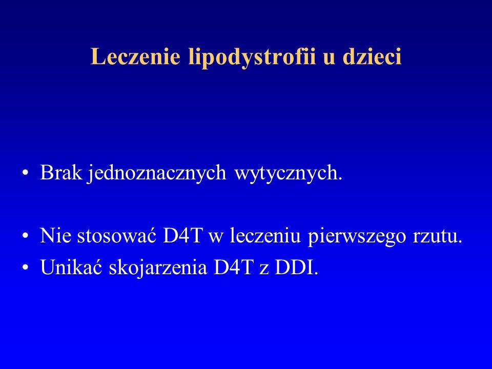 Leczenie lipodystrofii u dzieci Brak jednoznacznych wytycznych. Nie stosować D4T w leczeniu pierwszego rzutu. Unikać skojarzenia D4T z DDI.