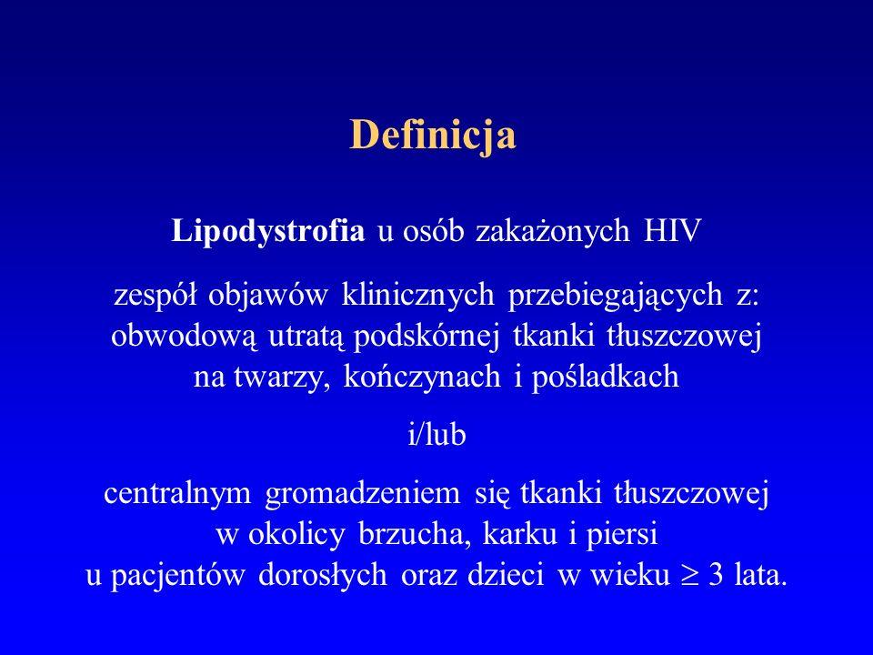 Lipodystrofia u osób zakażonych HIV zespół objawów klinicznych przebiegających z: obwodową utratą podskórnej tkanki tłuszczowej na twarzy, kończynach