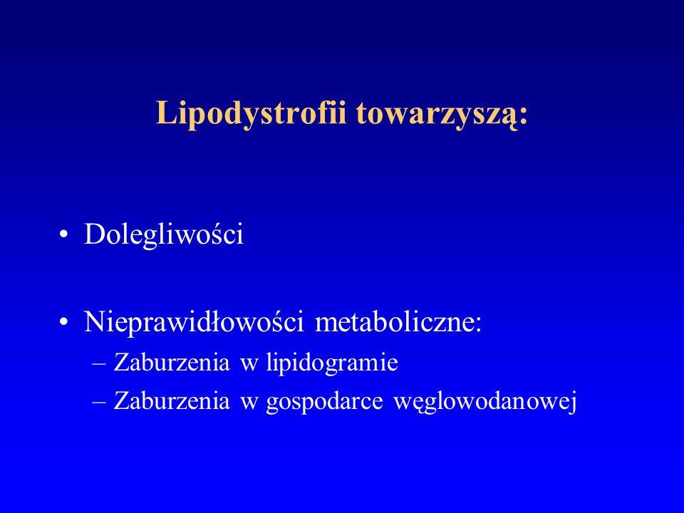 Diagnostyka lipodystrofii Przed leczeniem - wywiad rodzinny: –zespół metaboliczny –cukrzyca –miażdżyca –choroby układu krążenia (nadciśnienie, zawał) Przed leczeniem (0) i co 12-24 tygodni - wywiad dotyczący dolegliwości Przed leczeniem (0) i co 12 tygodni - badanie przedmiotowe z uwzględnieniem klinicznych objawów lipodystrofii