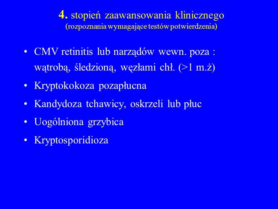4. stopień zaawansowania klinicznego (rozpoznania wymagające testów potwierdzenia) CMV retinitis lub narządów wewn. poza : wątrobą, śledzioną, węzłami