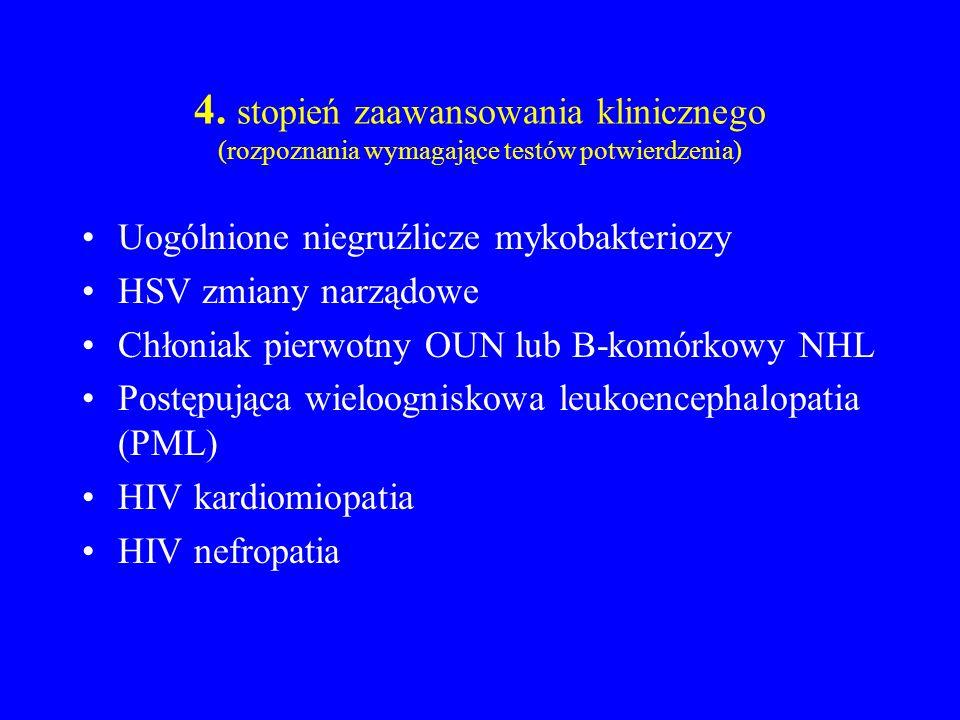 4. stopień zaawansowania klinicznego (rozpoznania wymagające testów potwierdzenia) Uogólnione niegruźlicze mykobakteriozy HSV zmiany narządowe Chłonia