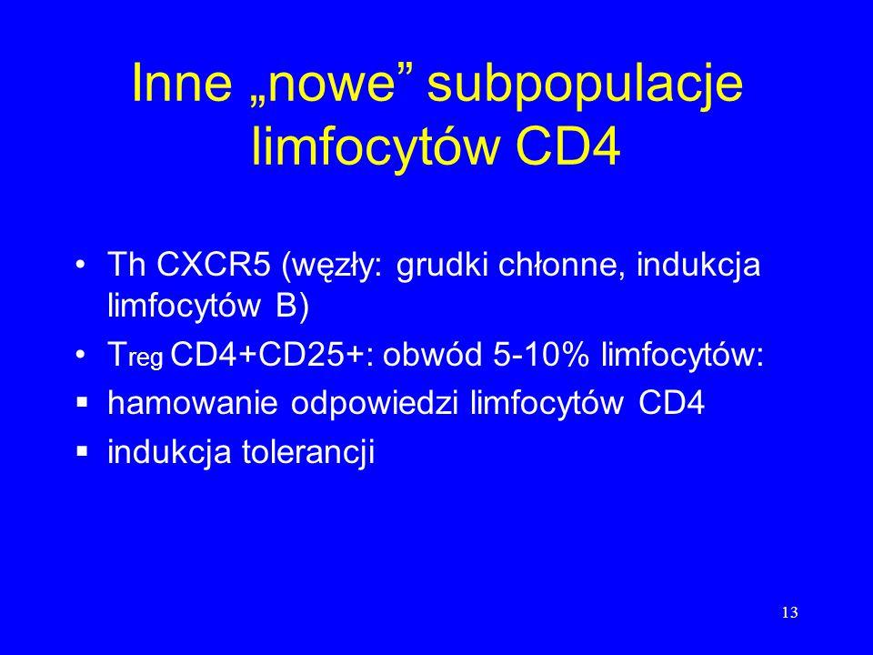 13 Inne nowe subpopulacje limfocytów CD4 Th CXCR5 (węzły: grudki chłonne, indukcja limfocytów B) T reg CD4+CD25+: obwód 5-10% limfocytów: hamowanie odpowiedzi limfocytów CD4 indukcja tolerancji