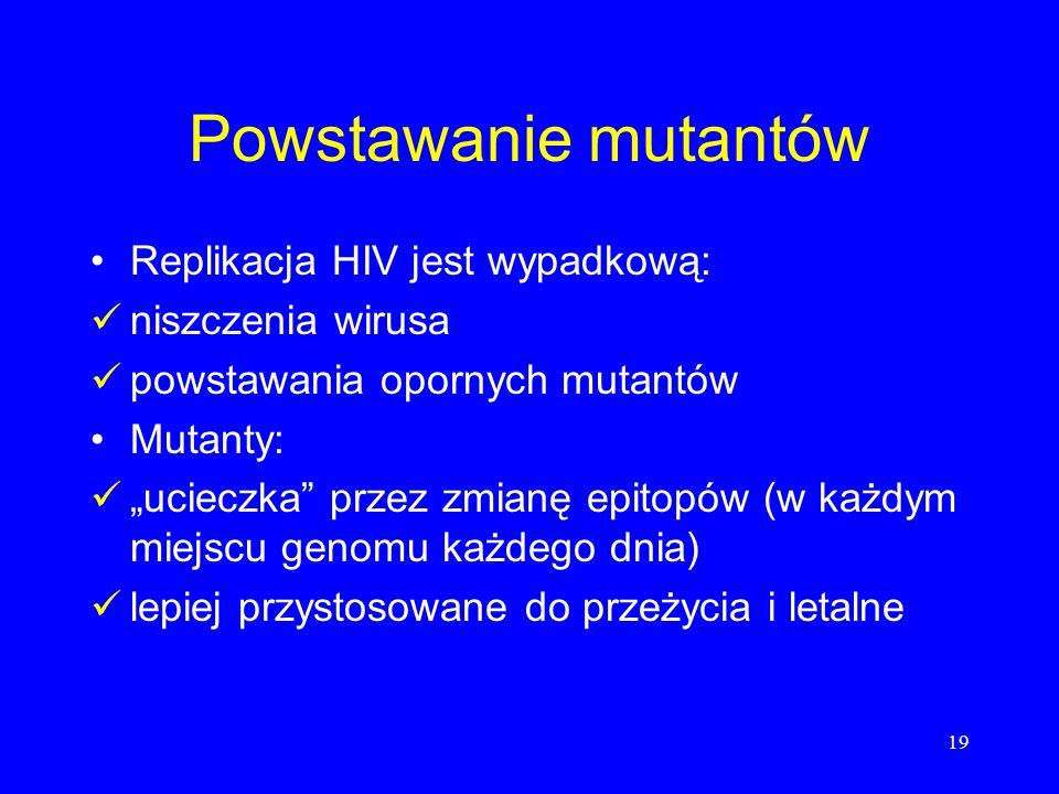 19 Powstawanie mutantów Replikacja HIV jest wypadkową: niszczenia wirusa powstawania opornych mutantów Mutanty: ucieczka przez zmianę epitopów (w każd
