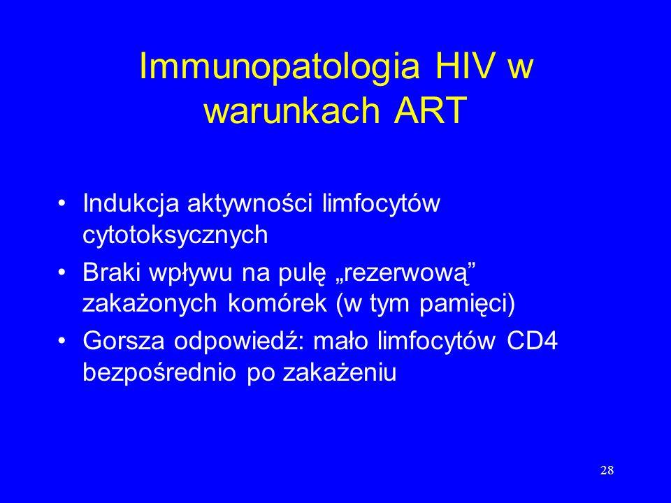 28 Immunopatologia HIV w warunkach ART Indukcja aktywności limfocytów cytotoksycznych Braki wpływu na pulę rezerwową zakażonych komórek (w tym pamięci