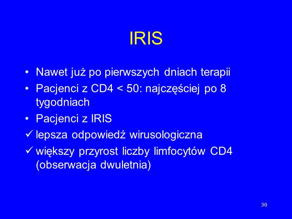 30 IRIS Nawet już po pierwszych dniach terapii Pacjenci z CD4 < 50: najczęściej po 8 tygodniach Pacjenci z IRIS lepsza odpowiedź wirusologiczna większ