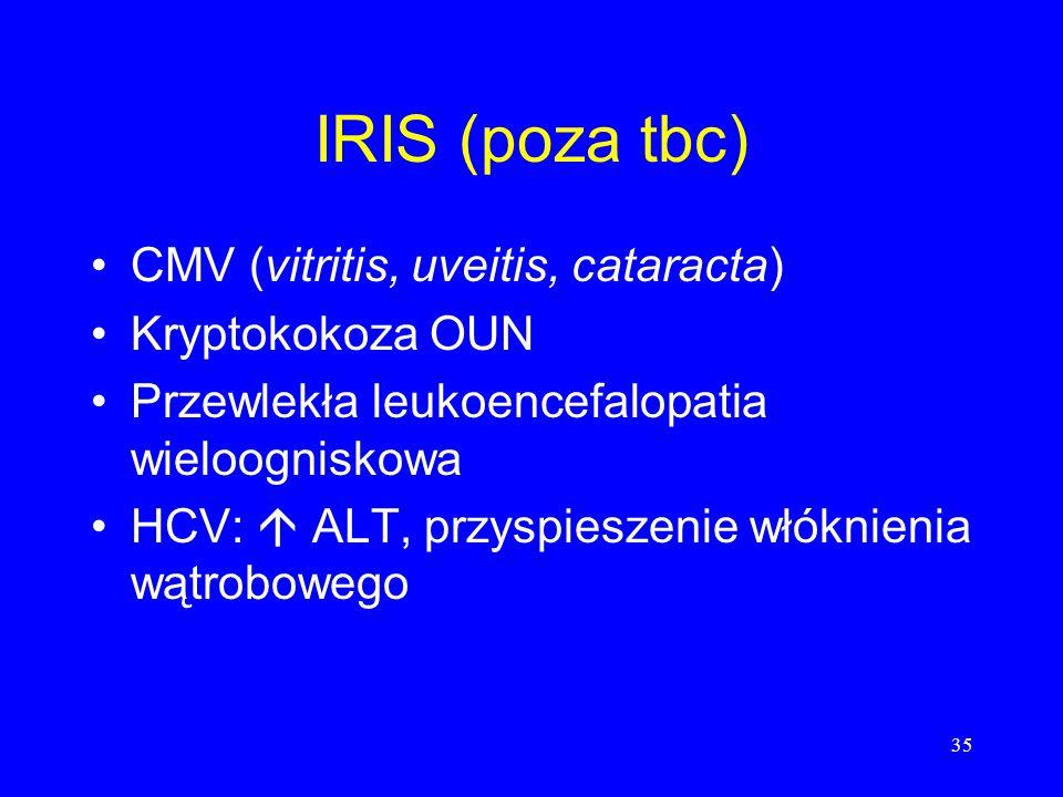 35 IRIS (poza tbc) CMV (vitritis, uveitis, cataracta) Kryptokokoza OUN Przewlekła leukoencefalopatia wieloogniskowa HCV: ALT, przyspieszenie włóknieni