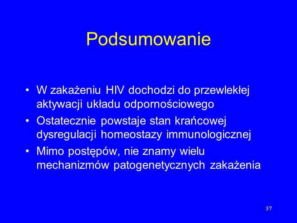 37 Podsumowanie W zakażeniu HIV dochodzi do przewlekłej aktywacji układu odpornościowego Ostatecznie powstaje stan krańcowej dysregulacji homeostazy i