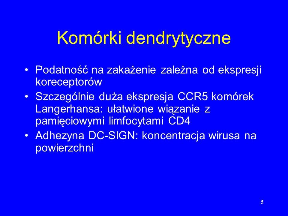 5 Komórki dendrytyczne Podatność na zakażenie zależna od ekspresji koreceptorów Szczególnie duża ekspresja CCR5 komórek Langerhansa: ułatwione wiązani