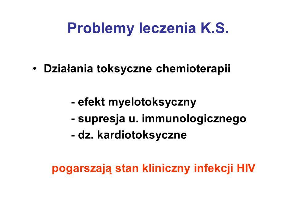 Problemy leczenia K.S. Działania toksyczne chemioterapii - efekt myelotoksyczny - supresja u. immunologicznego - dz. kardiotoksyczne pogarszają stan k