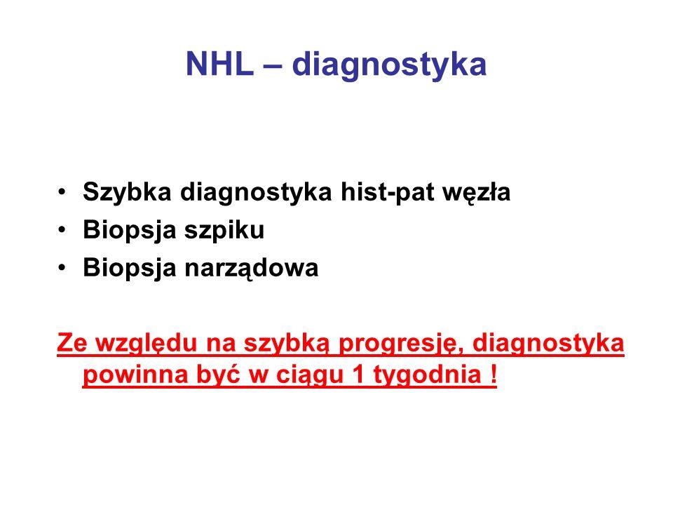 NHL – diagnostyka Szybka diagnostyka hist-pat węzła Biopsja szpiku Biopsja narządowa Ze względu na szybką progresję, diagnostyka powinna być w ciągu 1