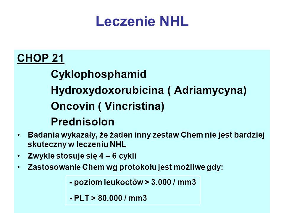 Leczenie NHL CHOP 21 Cyklophosphamid Hydroxydoxorubicina ( Adriamycyna) Oncovin ( Vincristina) Prednisolon Badania wykazały, że żaden inny zestaw Chem