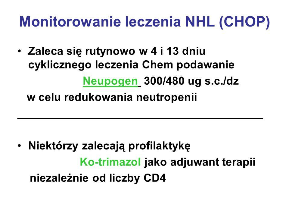 Monitorowanie leczenia NHL (CHOP) Zaleca się rutynowo w 4 i 13 dniu cyklicznego leczenia Chem podawanie Neupogen 300/480 ug s.c./dz w celu redukowania