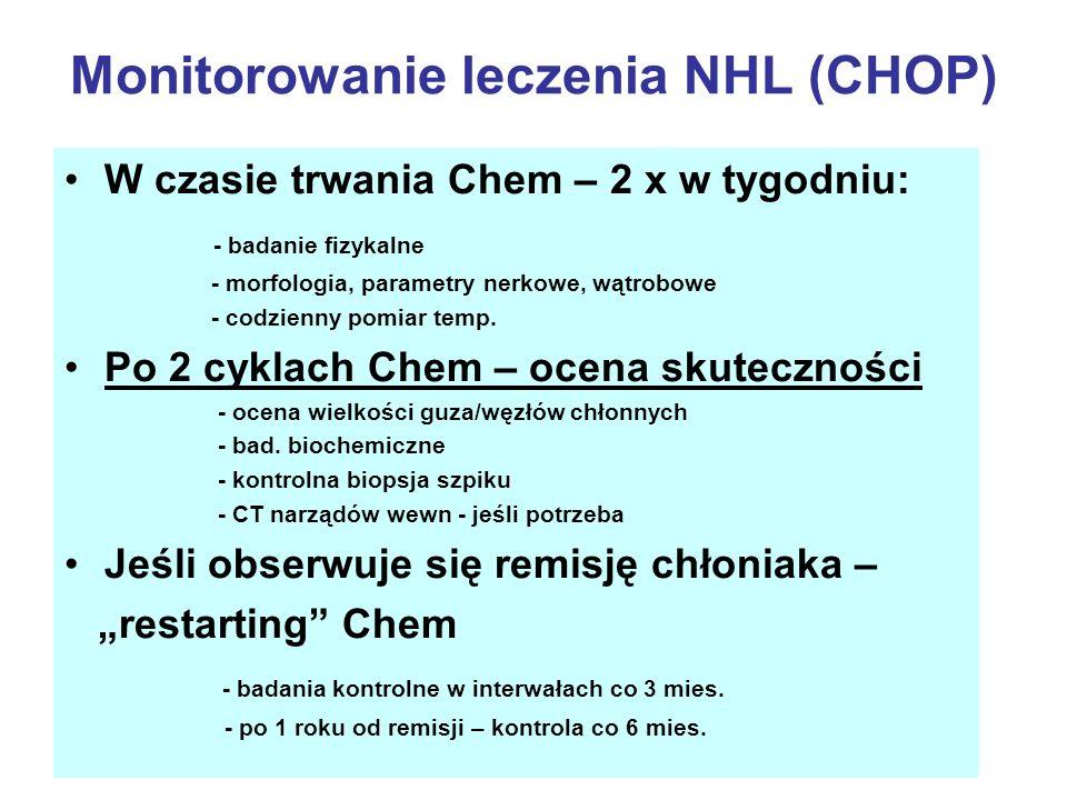 Monitorowanie leczenia NHL (CHOP) W czasie trwania Chem – 2 x w tygodniu: - badanie fizykalne - morfologia, parametry nerkowe, wątrobowe - codzienny p