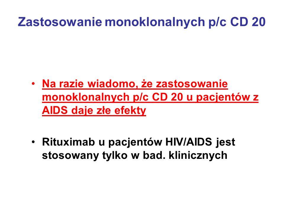 Zastosowanie monoklonalnych p/c CD 20 Na razie wiadomo, że zastosowanie monoklonalnych p/c CD 20 u pacjentów z AIDS daje złe efekty Rituximab u pacjen