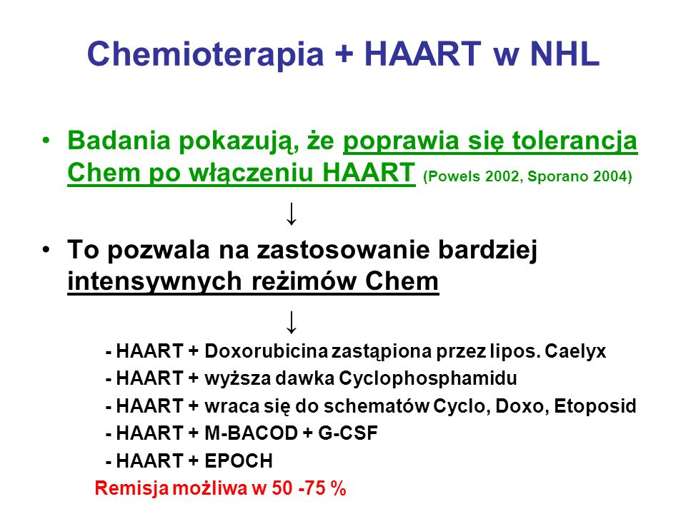Chemioterapia + HAART w NHL Badania pokazują, że poprawia się tolerancja Chem po włączeniu HAART (Powels 2002, Sporano 2004) To pozwala na zastosowani