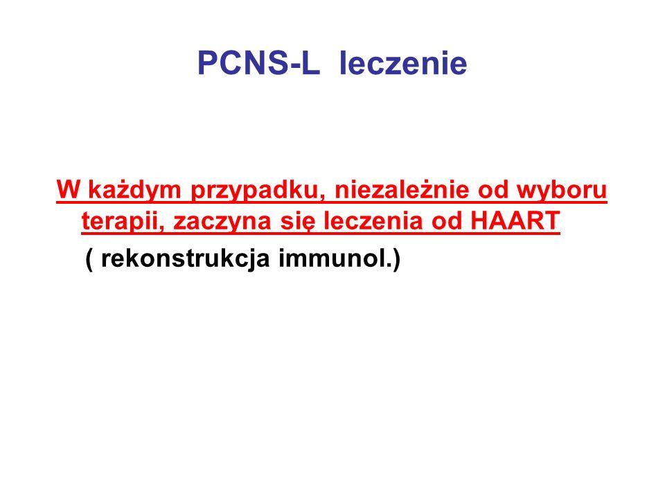 PCNS-L leczenie W każdym przypadku, niezależnie od wyboru terapii, zaczyna się leczenia od HAART ( rekonstrukcja immunol.)
