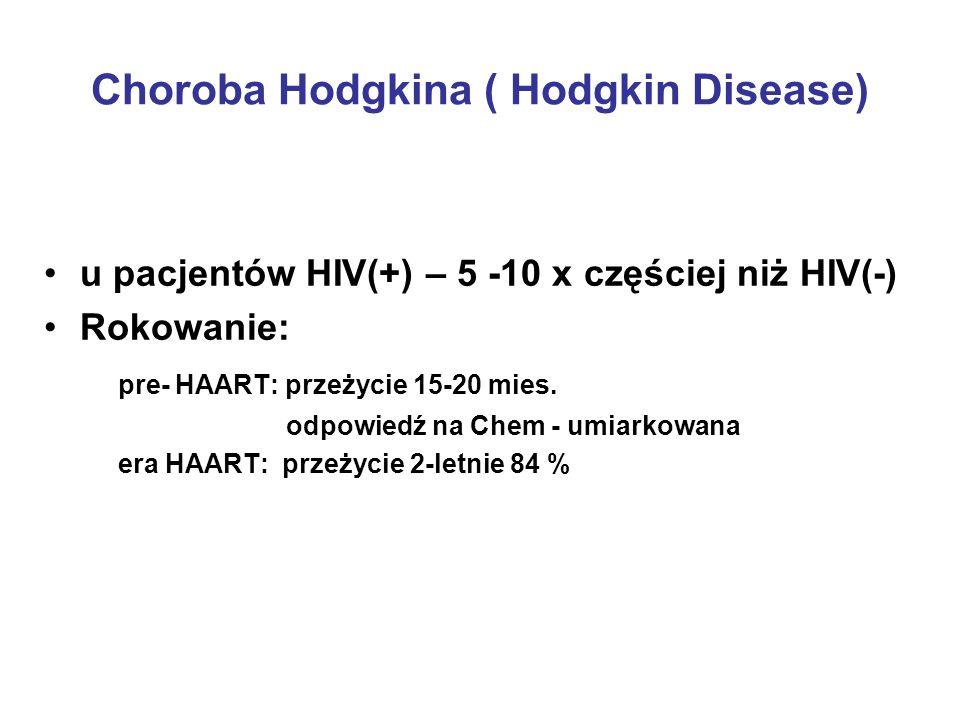 Choroba Hodgkina ( Hodgkin Disease) u pacjentów HIV(+) – 5 -10 x częściej niż HIV(-) Rokowanie: pre- HAART: przeżycie 15-20 mies. odpowiedź na Chem -