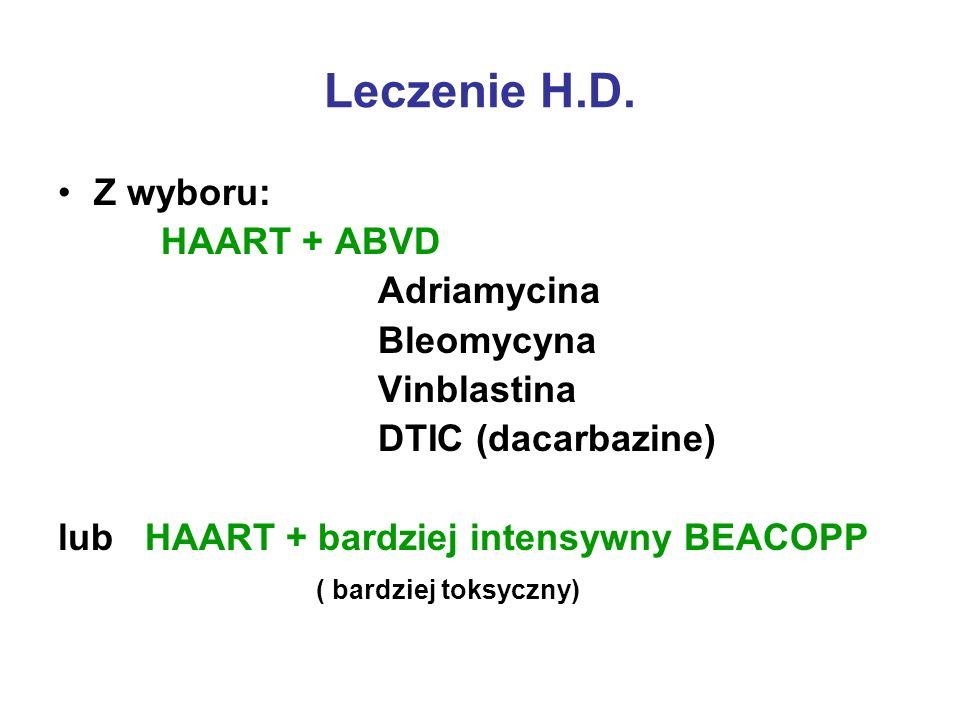 Leczenie H.D. Z wyboru: HAART + ABVD Adriamycina Bleomycyna Vinblastina DTIC (dacarbazine) lub HAART + bardziej intensywny BEACOPP ( bardziej toksyczn