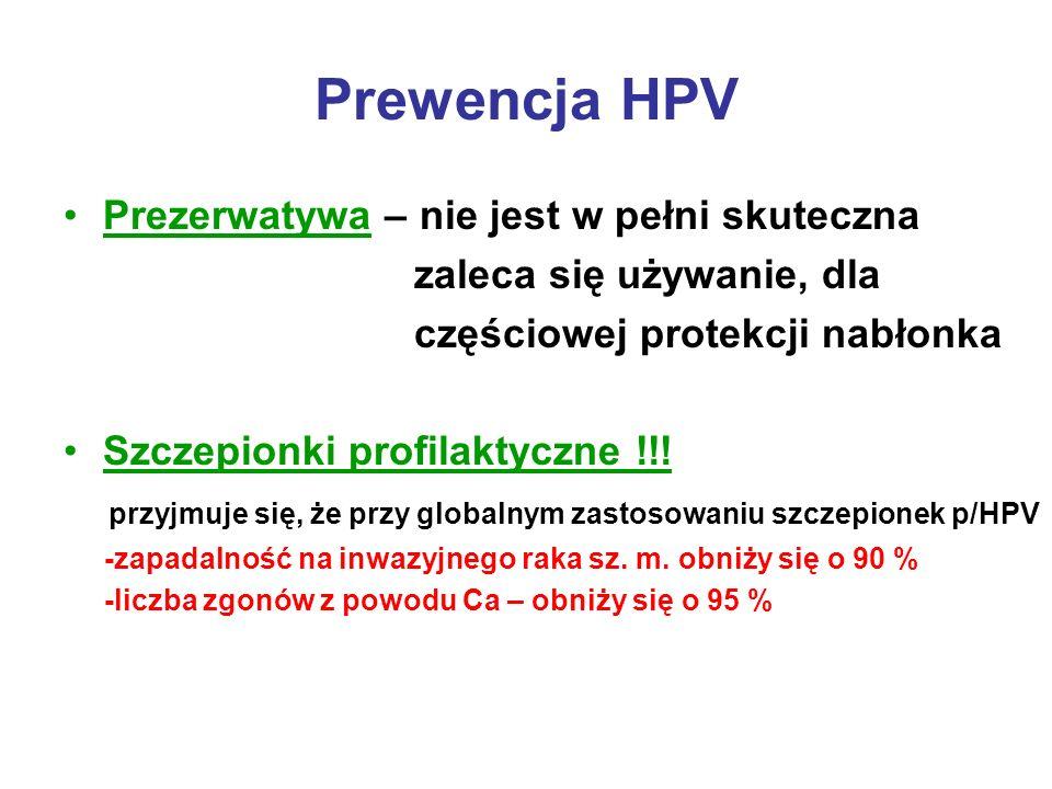 Prewencja HPV Prezerwatywa – nie jest w pełni skuteczna zaleca się używanie, dla częściowej protekcji nabłonka Szczepionki profilaktyczne !!! przyjmuj