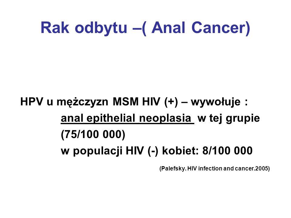 Rak odbytu –( Anal Cancer) HPV u mężczyzn MSM HIV (+) – wywołuje : anal epithelial neoplasia w tej grupie (75/100 000) w populacji HIV (-) kobiet: 8/1