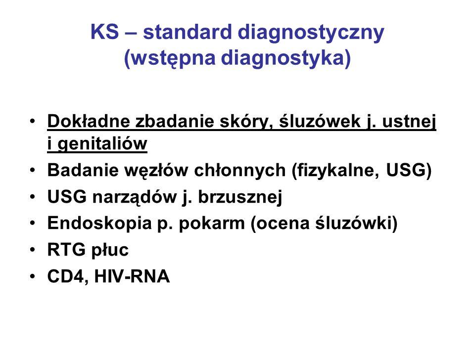 KS – standard diagnostyczny (wstępna diagnostyka) Dokładne zbadanie skóry, śluzówek j. ustnej i genitaliów Badanie węzłów chłonnych (fizykalne, USG) U