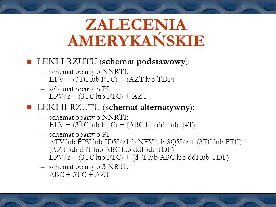 ZALECENIA AMERYKAŃSKIE LEKI I RZUTU (schemat podstawowy): –schemat oparty o NNRTI: EFV + (3TC lub FTC) + (AZT lub TDF) –schemat oparty o PI: LPV/r + (