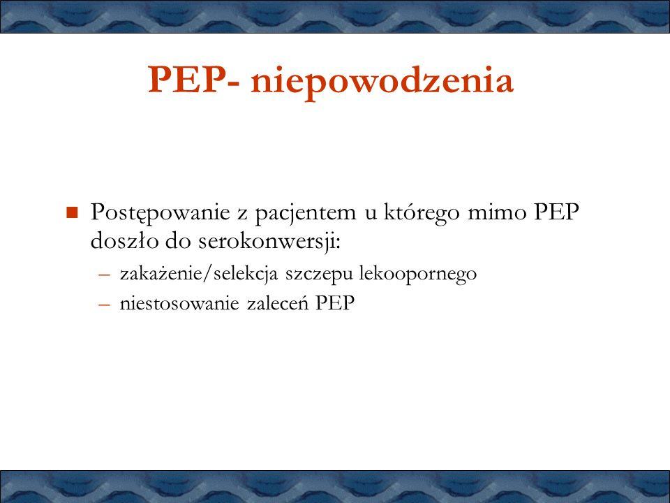 PEP- niepowodzenia Postępowanie z pacjentem u którego mimo PEP doszło do serokonwersji: –zakażenie/selekcja szczepu lekoopornego –niestosowanie zalece