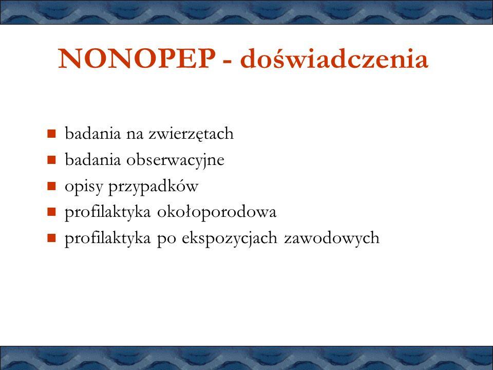NONOPEP - doświadczenia badania na zwierzętach badania obserwacyjne opisy przypadków profilaktyka okołoporodowa profilaktyka po ekspozycjach zawodowyc
