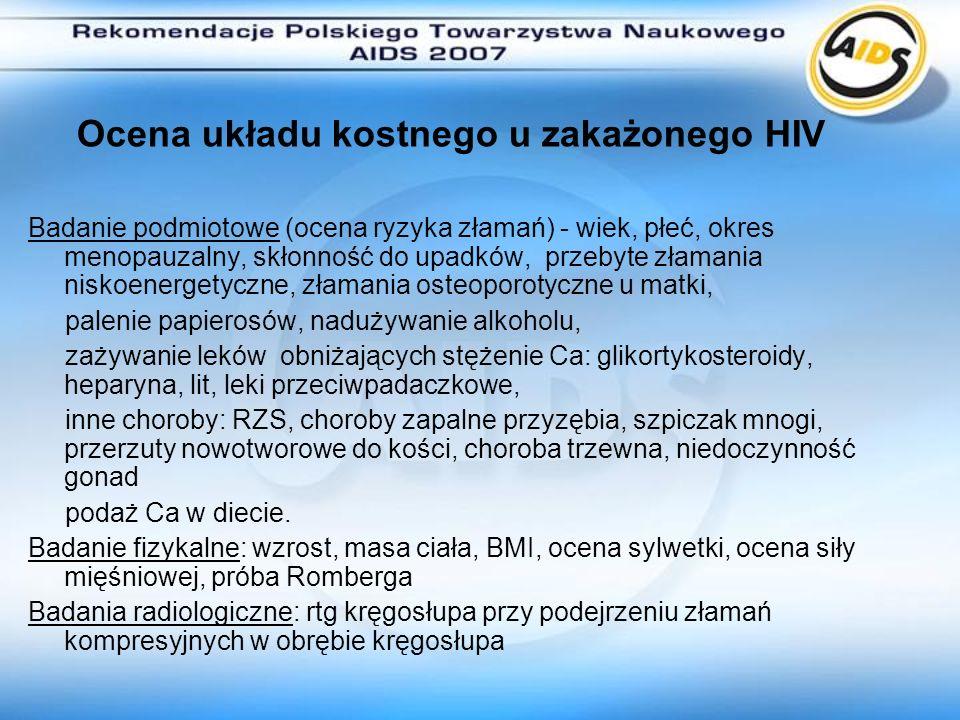Ocena układu kostnego u zakażonego HIV Badanie podmiotowe (ocena ryzyka złamań) - wiek, płeć, okres menopauzalny, skłonność do upadków, przebyte złama