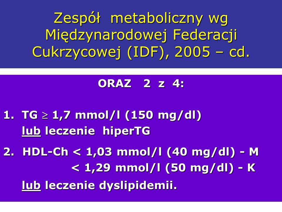 Zespół metaboliczny wg Międzynarodowej Federacji Cukrzycowej (IDF), 2005 – cd. ORAZ 2 z 4: 1.TG 1,7 mmol/l (150 mg/dl) lub leczenie hiperTG lub leczen
