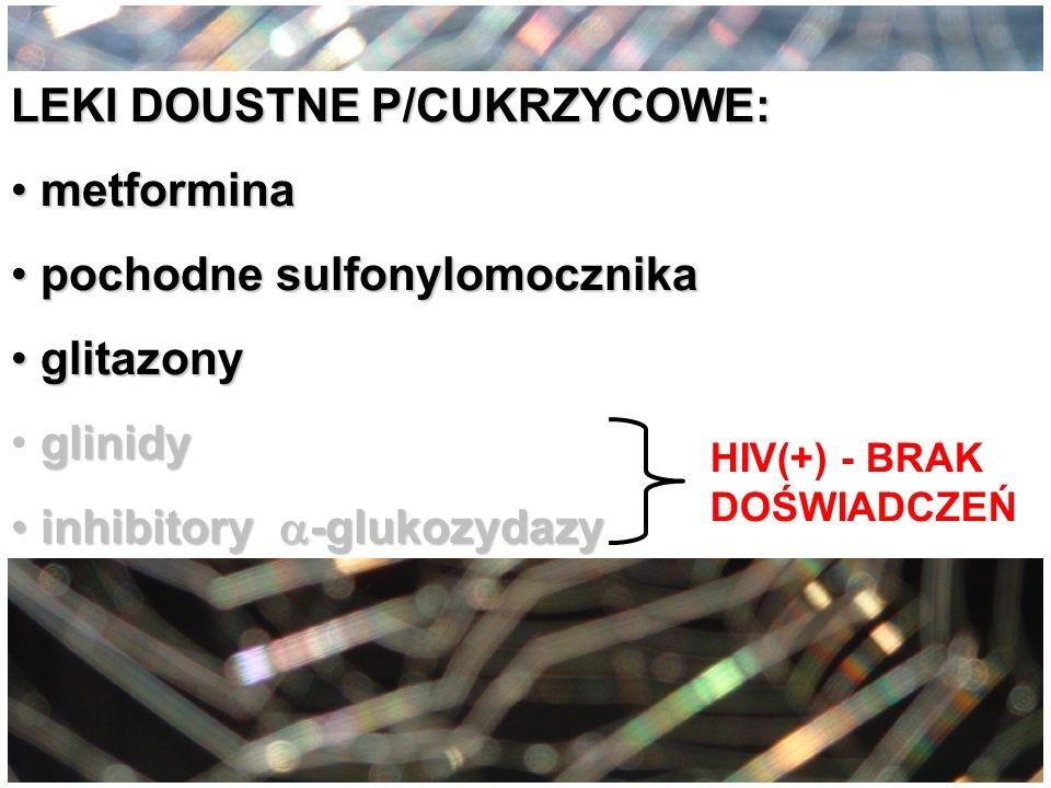 LEKI DOUSTNE P/CUKRZYCOWE: metformina metformina pochodne sulfonylomocznika pochodne sulfonylomocznika glitazony glitazony glinidy inhibitory -glukozy
