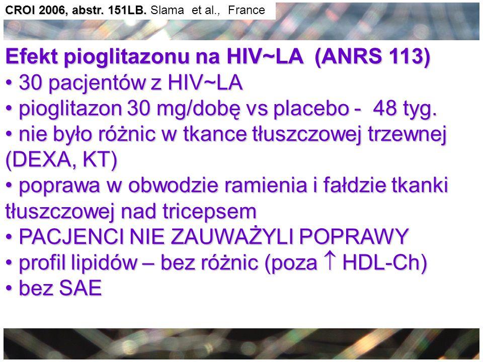 CROI 2006, abstr. 151LB. CROI 2006, abstr. 151LB. Slama et al., France Efekt pioglitazonu na HIV~LA (ANRS 113) 30 pacjentów z HIV~LA 30 pacjentów z HI
