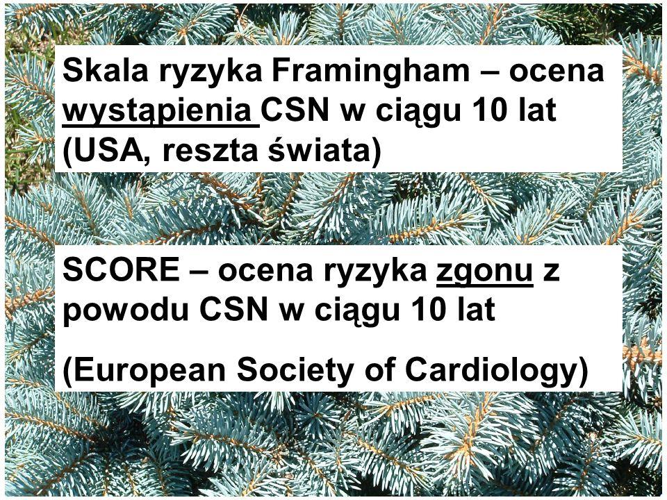 Skala ryzyka Framingham – ocena wystąpienia CSN w ciągu 10 lat (USA, reszta świata) SCORE – ocena ryzyka zgonu z powodu CSN w ciągu 10 lat (European S