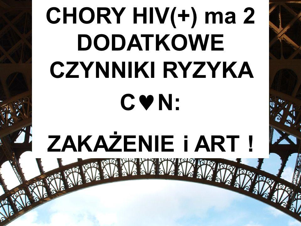CHORY HIV(+) ma 2 DODATKOWE CZYNNIKI RYZYKA C N: ZAKAŻENIE i ART !