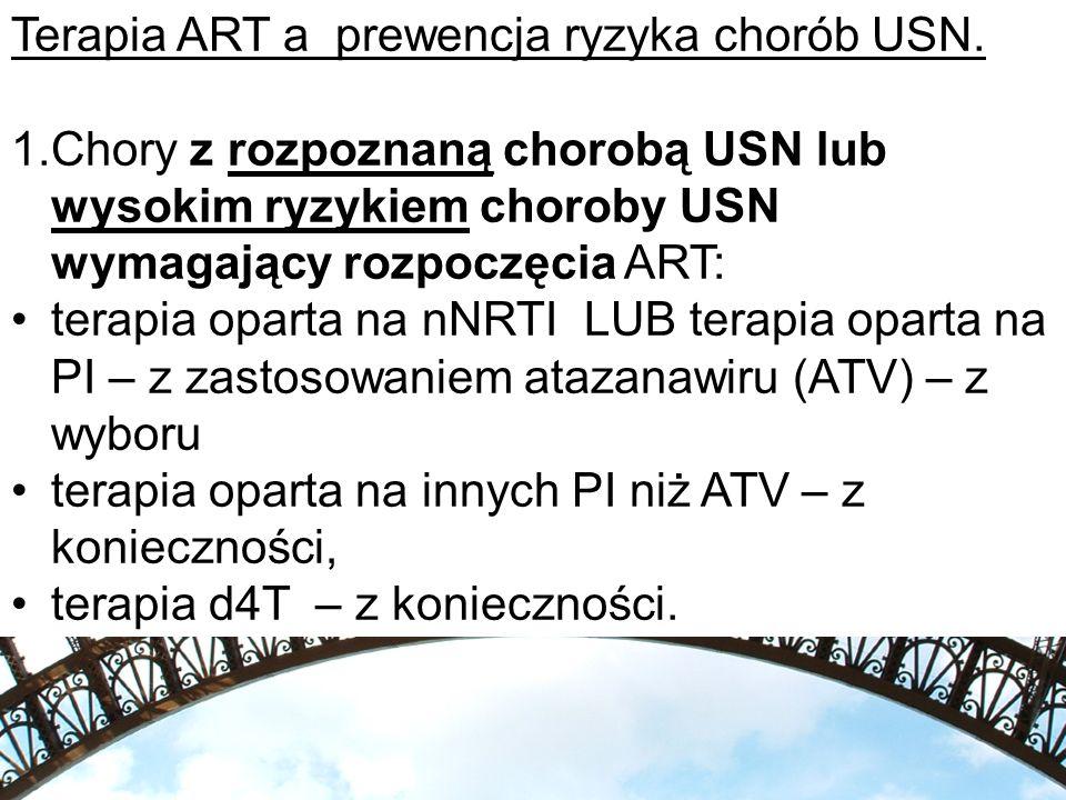 Terapia ART a prewencja ryzyka chorób USN. 1.Chory z rozpoznaną chorobą USN lub wysokim ryzykiem choroby USN wymagający rozpoczęcia ART: terapia opart